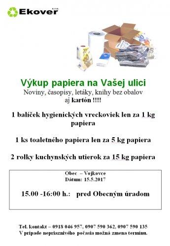 Oznam - Výkup papiera 15.5