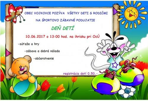 Pozvánka - Deň detí 2017