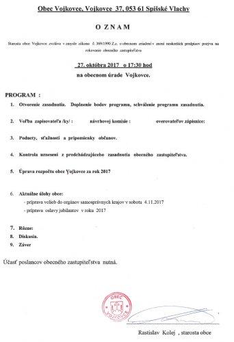 Pozvánka - OZ október 2017