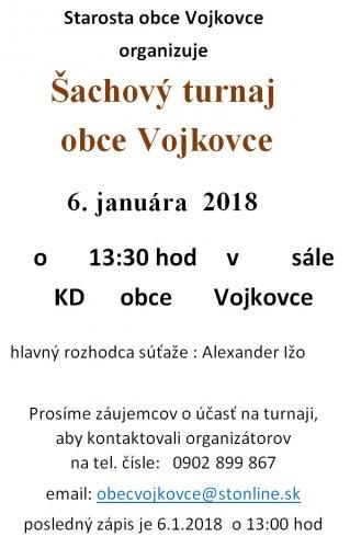 Pozvánka - Šachový turnaj 6.1.