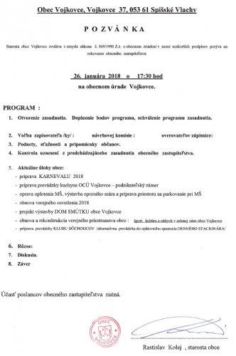 Pozvánka - OZ január 2018