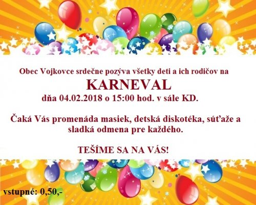 Pozvánka - Karneval 2018