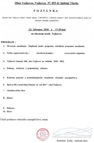 Pozvánka - OZ február 2018