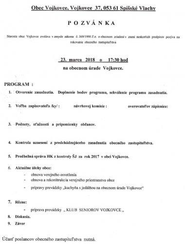Pozvánka - OZ marec 2018