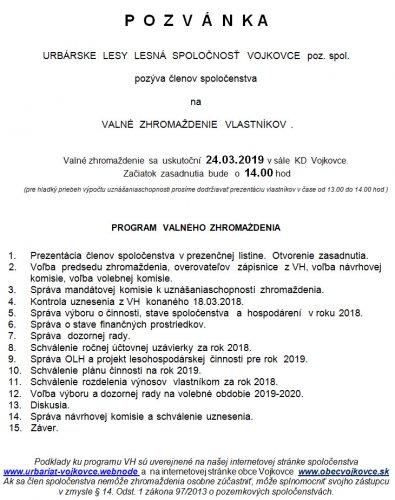Pozanka - Urbariát valné zhromaždeňie