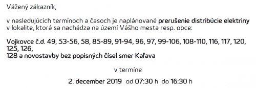 Oznam - prerušenie elektriny 2. 12. 2019