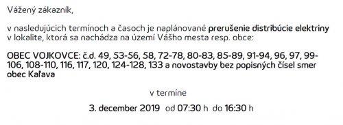 Oznam - prerušenie elektriny 3. 12. 2019