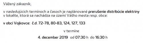 Oznam - prerušenie elektriny 4. 12. 2019