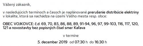 Oznam - prerušenie elektriny 5. 12. 2019