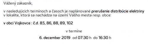 Oznam - prerušenie elektriny 6. 12. 2019
