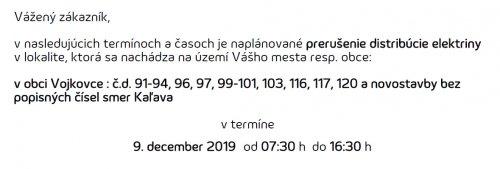Oznam - prerušenie elektriny 9. 12. 2019