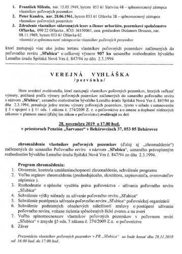 Verejná vyhláška - zhromaždenie vlastníkov poľovných pozemkov Sľubica