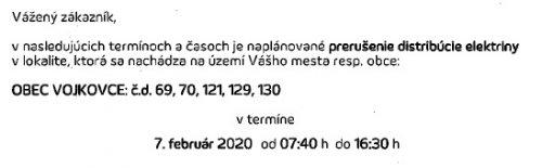 Oznam - prerušenie elektriny 7.2.2020