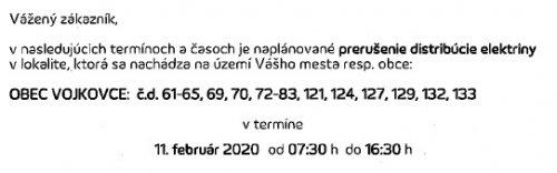 Oznam - prerušenie elektriny 14.2.2020