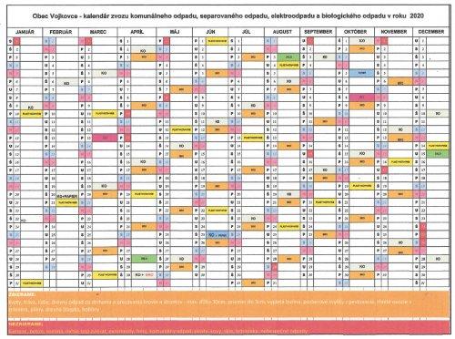 Kalendár zvozu komunálneho odpadu 2020