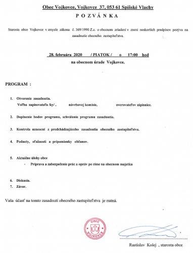 Pozvánka - OZ február 2020