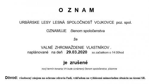 Oznam - Valné zhromaždenie nebude