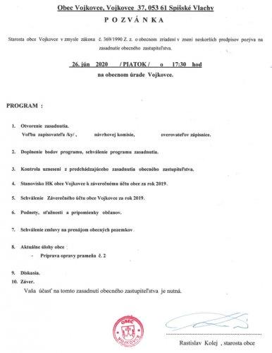 Pozvánka - OZ jún 2020