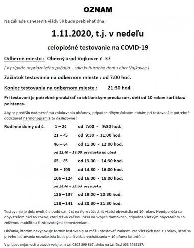 Oznam - Testovanie 1.11.