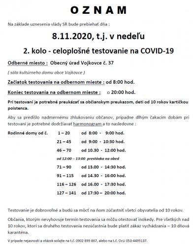 Oznam - Testovanie 8.11.